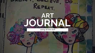 Art journal spread - techniques and all the stuff