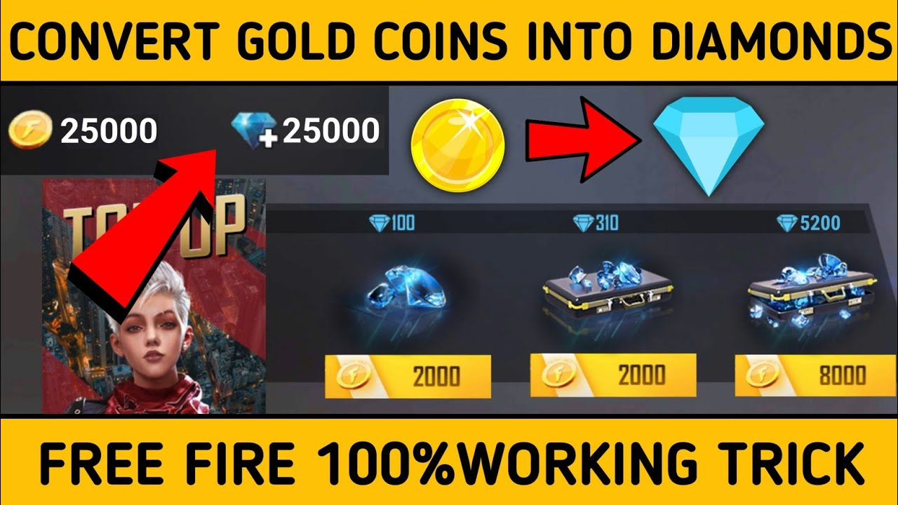 How To Convert Gold Coins Into Diamonds In Free Fire Free Fire Gold Convert Into Diamonds 2020 Youtube