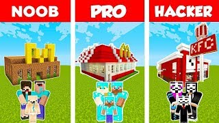 Minecraft: FAMILY FAST FOOD RESTAURANT BUILD CHALLENGE - NOOB vs PRO vs HACKER in Minecraft