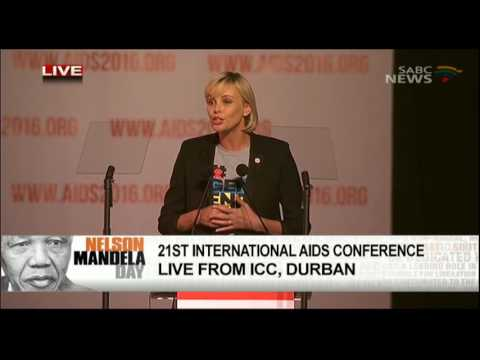 Charlize Theron addresses the official opening of the AIDS Conference