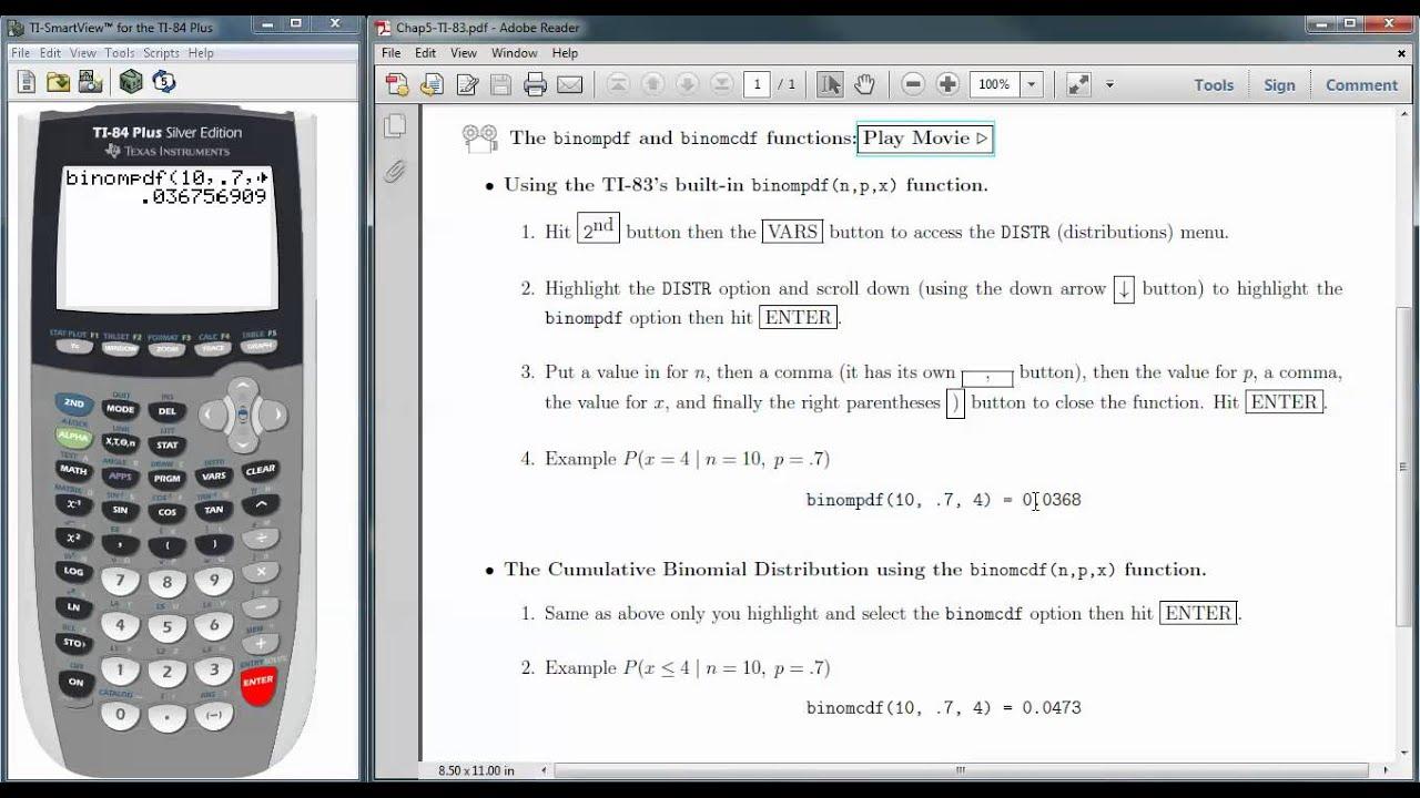Calculating Binomial Probabilities with the TI 83/84