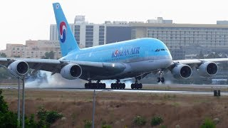 VERY HARD Korean Air Airbus A380 Landing at Los Angeles LAX Airport with Slow Motion Replay!