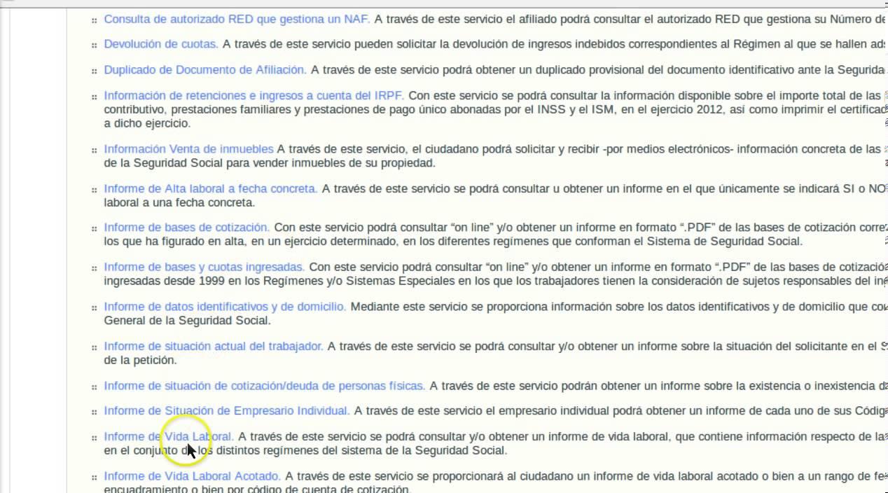 Formacion Online Obtencion Online De Informe De Vida Laboral Youtube