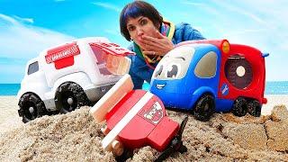 Машинки и Маша Капуки на пляже. Видео для детей Капуки Кануки. Давай почитаем по слогам