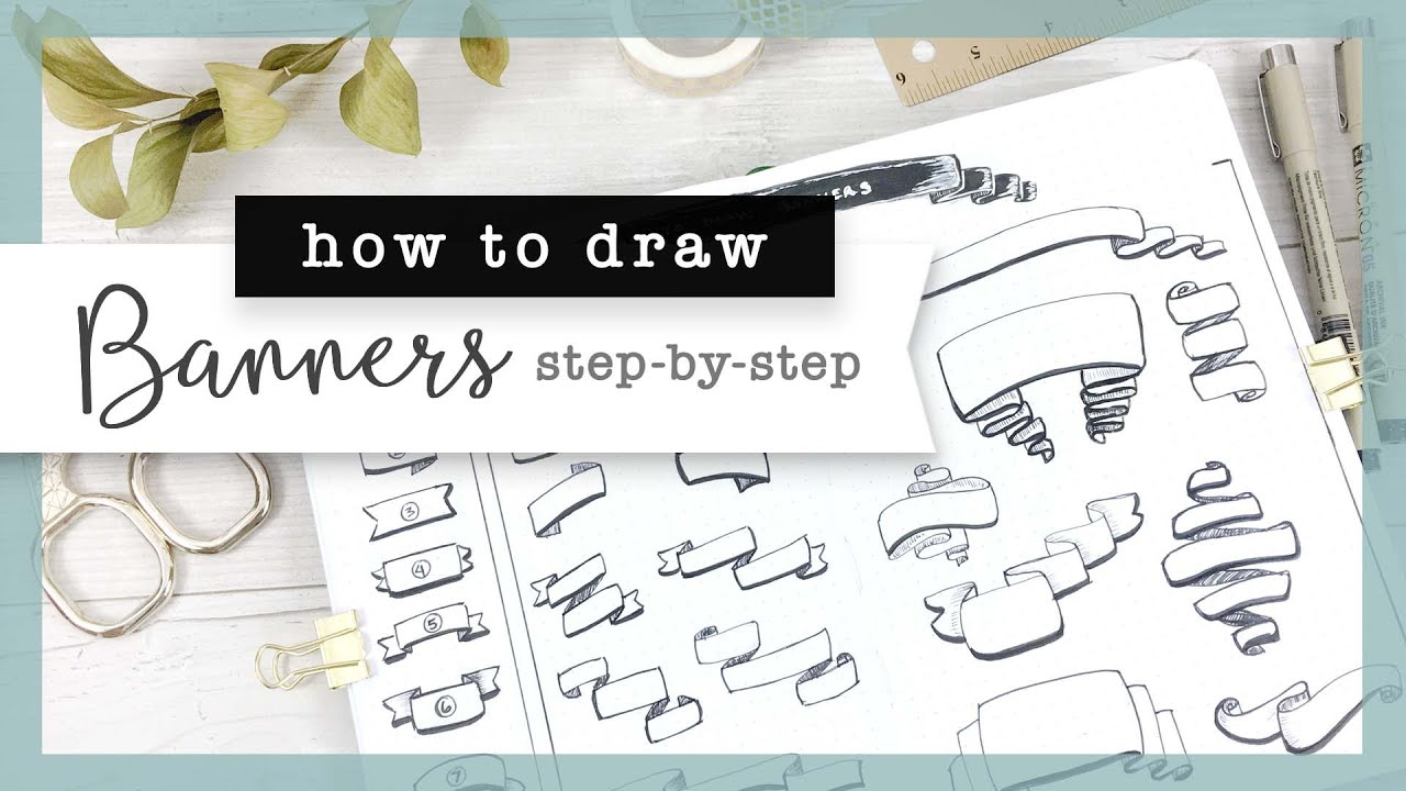 How to Draw Banners : Bullet Journal Guide (step-by-step)