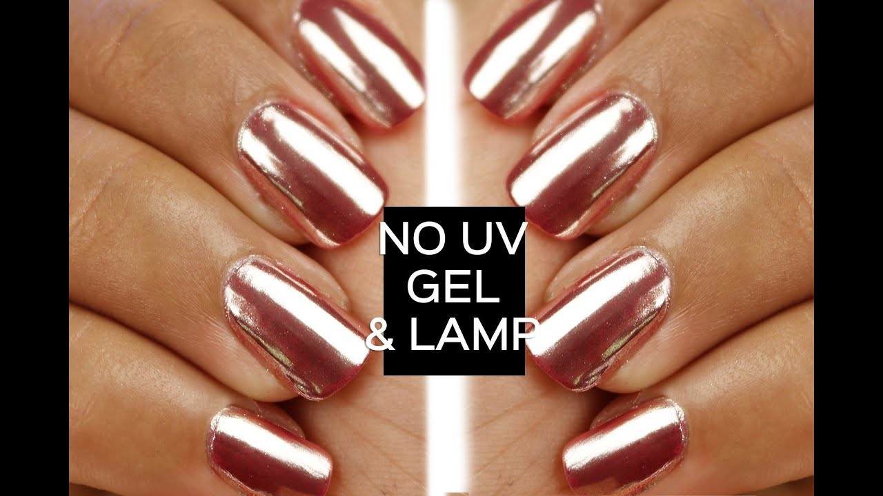 Mirror powder chrome nails with no UV gel or lamp - YouTube