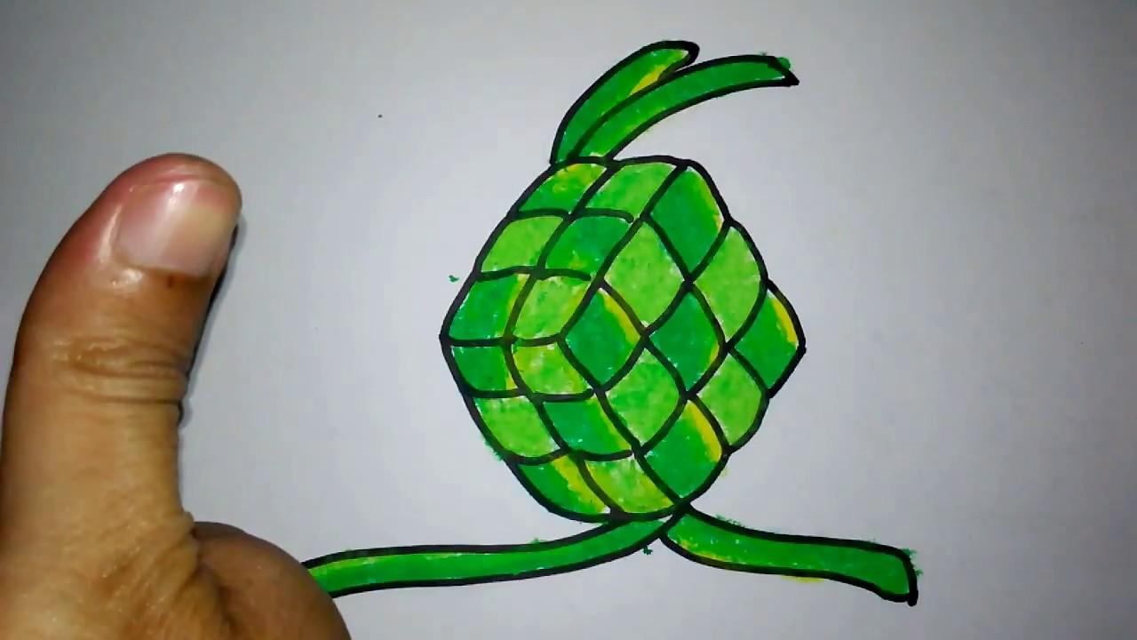 cara menggambar ketupat untuk anak SD