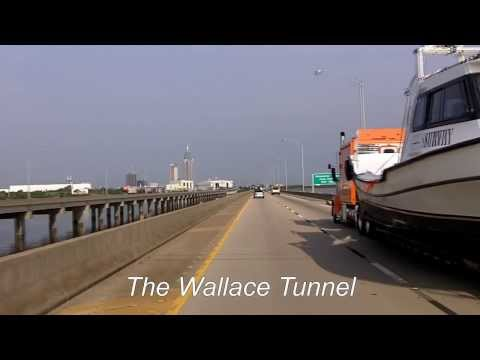 Interstate 10 West: Mobile Bay into downtown Mobile, AL
