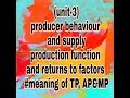 (unit-3)Meaning of total product, average product and marginal product (video no 26)