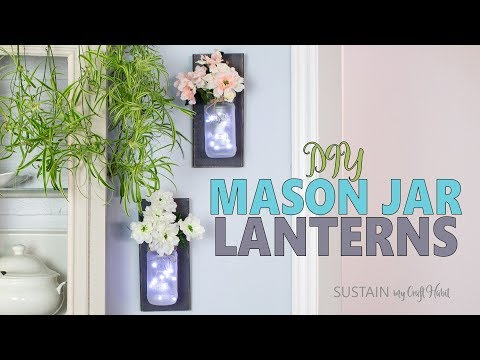 Simple Rustic DIY Mason Jar Lanterns with Twinkle Lights