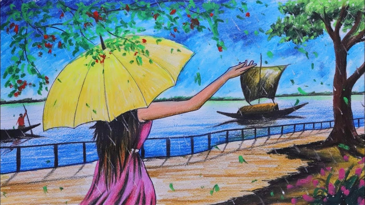 How To Draw Scenery Landscape Of Rainy Season Step By Step With Color Easy Drawing Video Youtube