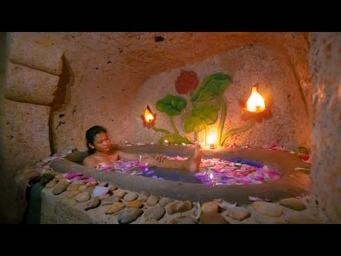 Build The Most Beautiful Bath Pool for Underground Mansion in the Jungle by Woman Builder