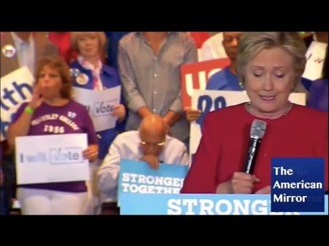 Hillary Clinton supporter falls asleep during Florida rally