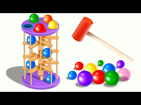 Learn Colors with Wooden Ball Hammer Educational Toys - Colors and Shapes Videos Collection