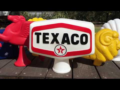 TEXACO BOWSER TOP DOUBLE SIDED GLOBE SIGN OIL MEMROBILLIA
