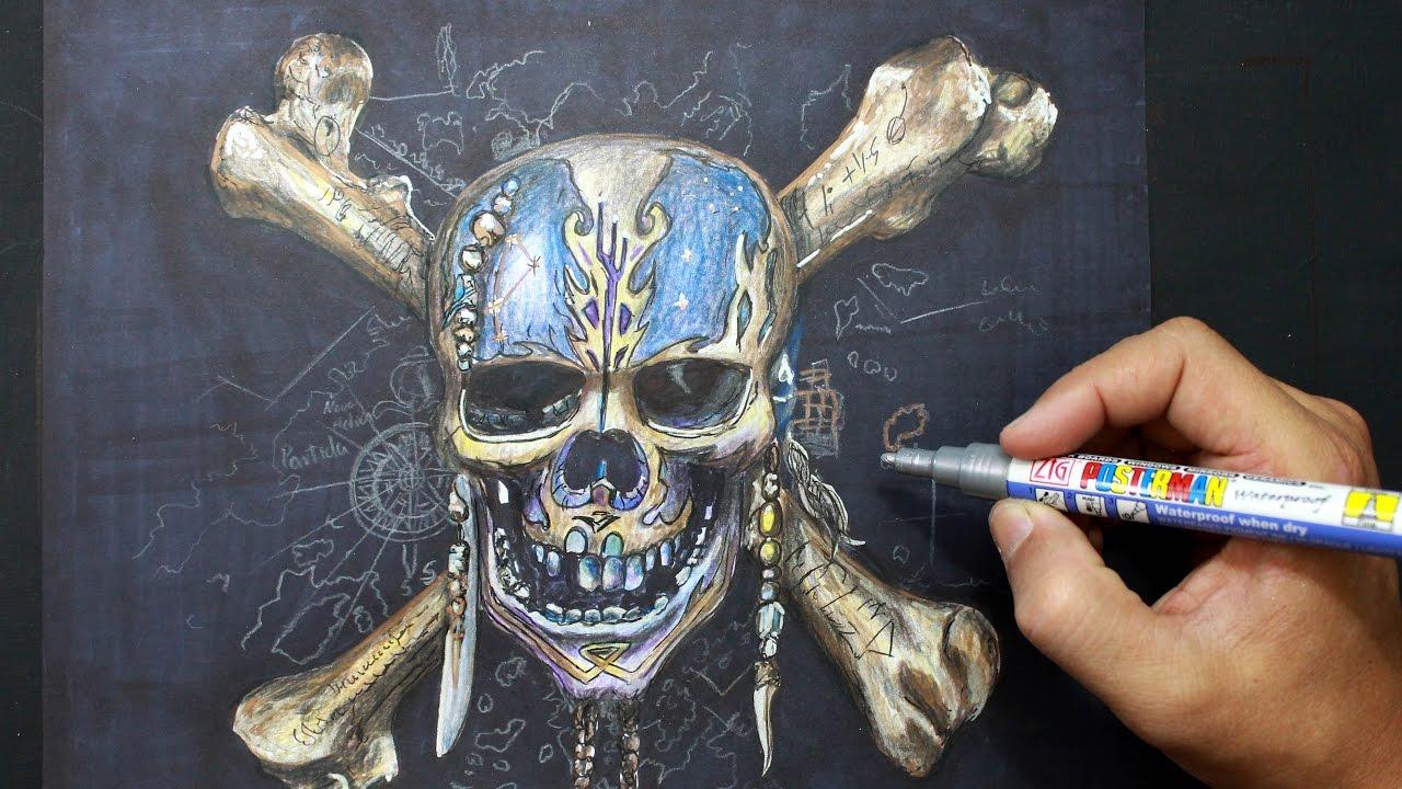Pirates of the Caribbean - Drawing pirate skeleton - Dibujando ...