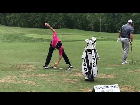 Miguel Angel Jimenez's unique golf warm-up routine