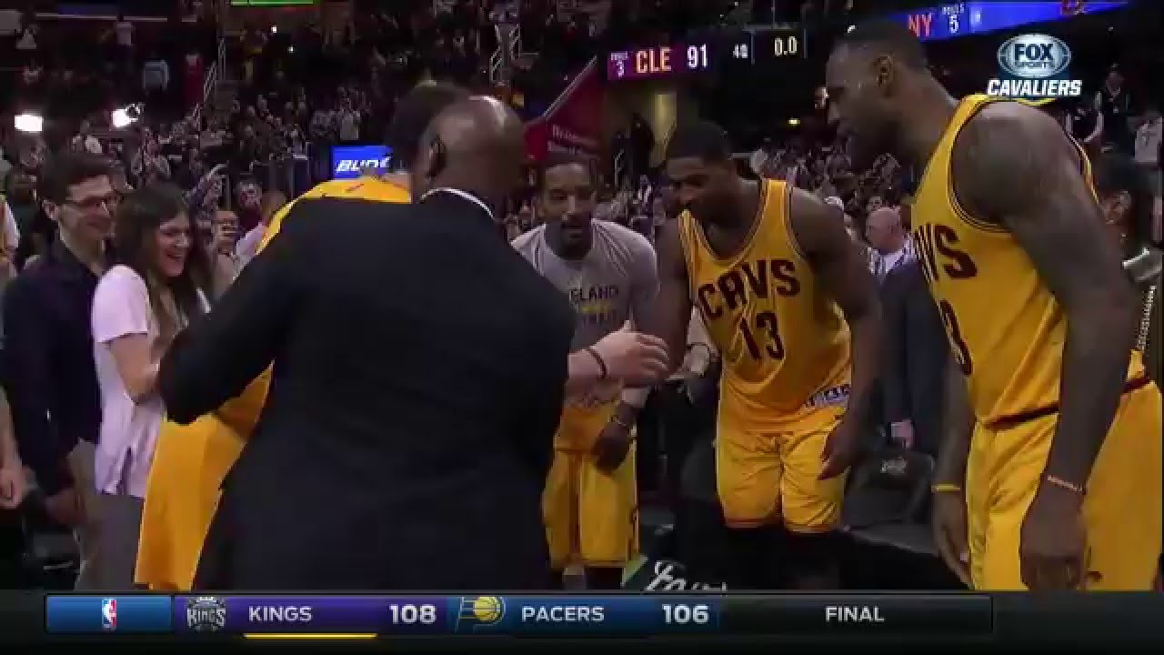 Cleveland Cavaliers end Kevin Love postgame interview with LeBron James WWE move, group dance