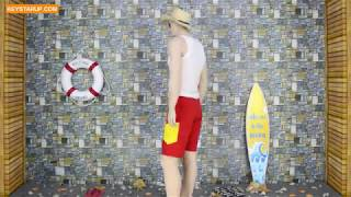 Solid color red waterproof beach swim shorts wholesales BST0009