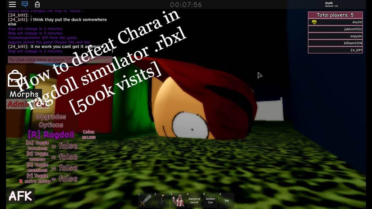 Roblox Ragdoll Simulator .rbxl Riddle How To Defeat Chara In Ragdoll Simulator Rbxl 500k Visits Youtube