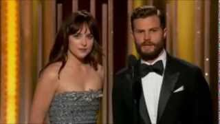 january 11th 2015 jamie dornan and dakota johnson presenting at the golden globe awards