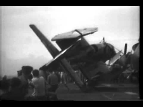 TYPHOON DAMAGE TO USS BENNINGTON & HORNET, PLANES TAKE OFF OVER STERN OF USS HORNET
