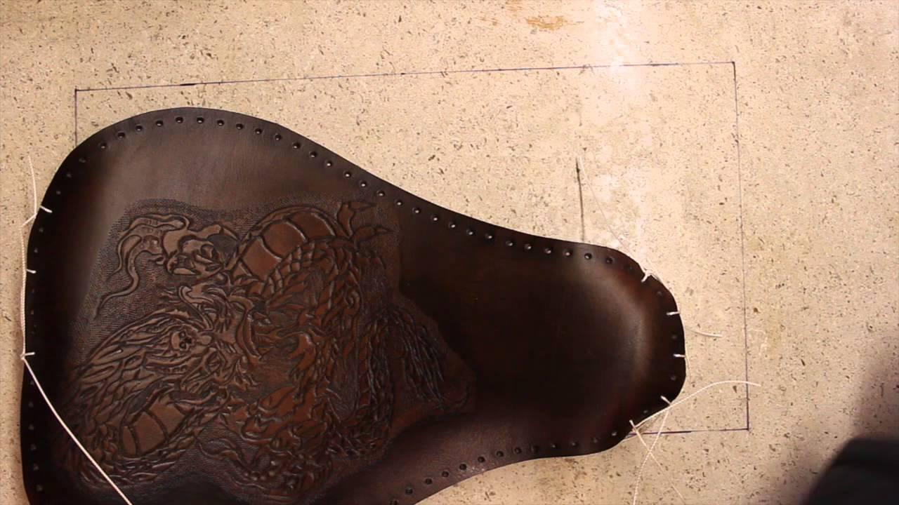 Tooled Leather Motorcycle Seat Part 5 Assembly