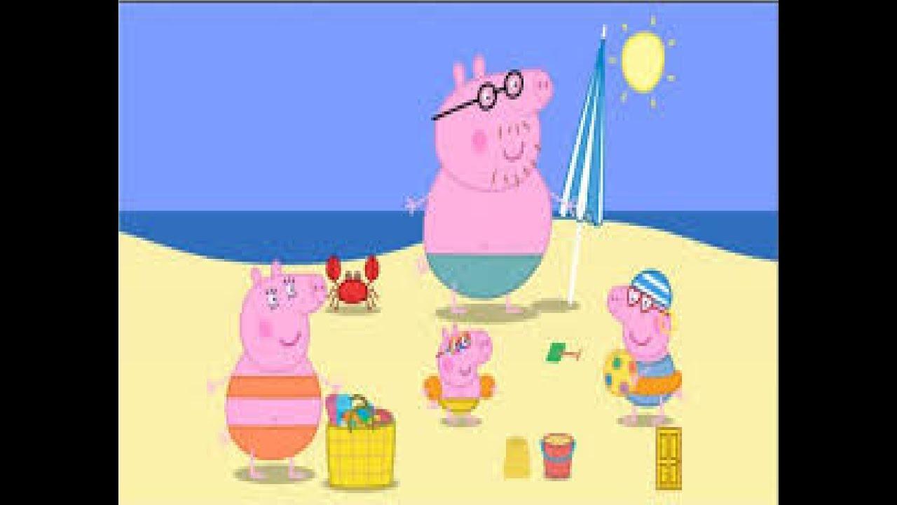 Familia peppa pig en la playa puzzle plage beach - Peppa cochon a la plage ...