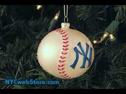 NY Yankees Baseball Glass Christmas Ornament - YouTube
