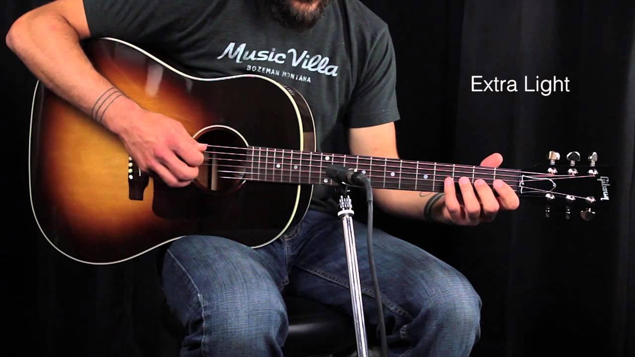 the ultimate acoustic string comparison extra light vs custom light vs light vs medium youtube. Black Bedroom Furniture Sets. Home Design Ideas