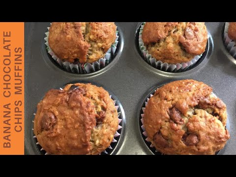 Eggless Banana Oats And Chocolate Chips Muffins Recipe | Healthy Breakfast Muffins