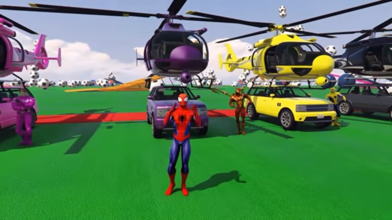 Color car number - Learn Color Helicopter On Car Number W Spiderman Cars Cartoon For Kids Colors For Children Nursery