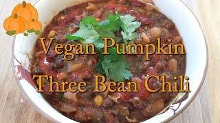 Vegan Pumpkin Three Bean Chili (Slow Cooker Recipe)