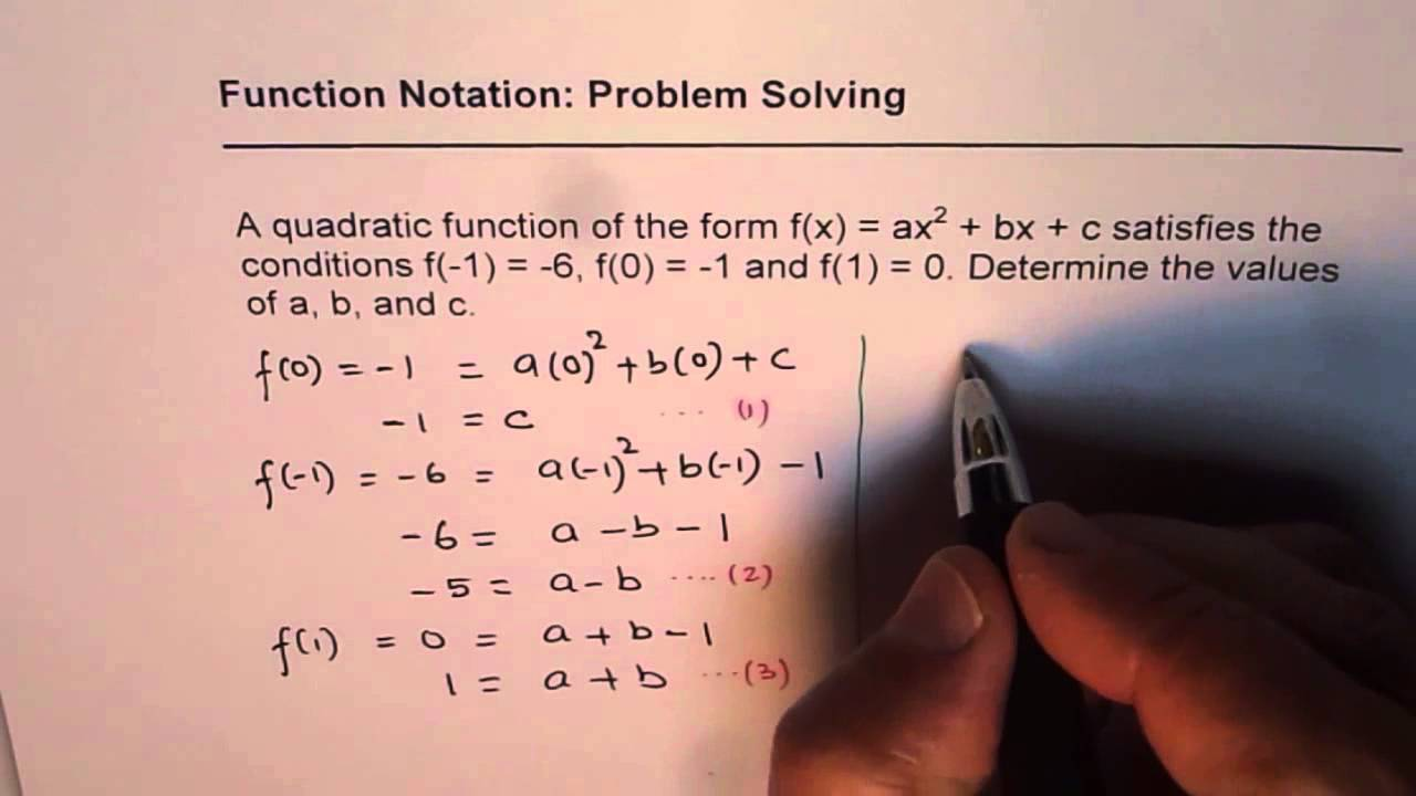 Find Quadratic Function With Given Points in Function Notation