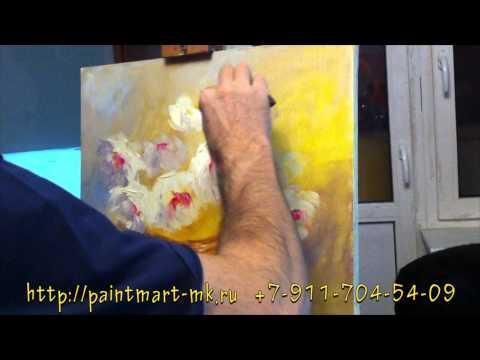 видео как рисовать пионы маслом, как рисовать корзину, как рисовать букет