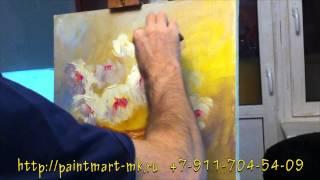 видео как рисовать пионы маслом, как рисовать корзину, как рисовать букет(Видео как рисовать пионы маслом быстро, поэтапно. Как нарисовать корзину для букета цветов., 2014-01-02T21:12:25.000Z)
