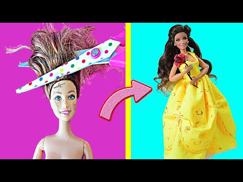 Makeover of Barbie Belle (Beauty and the Beast) 😱 DIY Custom Doll Hairstyles & Dress