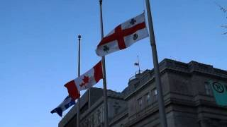 Flags Fly At Half Mast At Montreal City Hall For Nelson Mandela MAQ06823