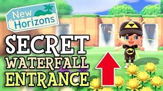 Animal Crossing New Horizons: SECRET AREA & WATERFALL ENTRANCE (How To Design Hidden Garden in ACNH)
