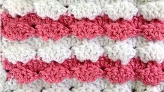 Crochet Stitch Puff Shells Changing Colors every other Row