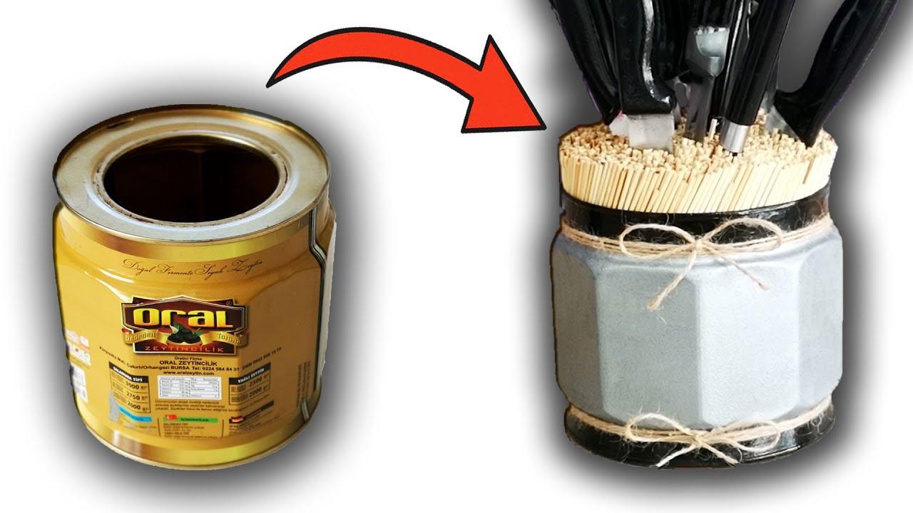 Teneke Kutudan Bıçaklık Yapımı | Decorative Knife Block From Tin Can | Diy