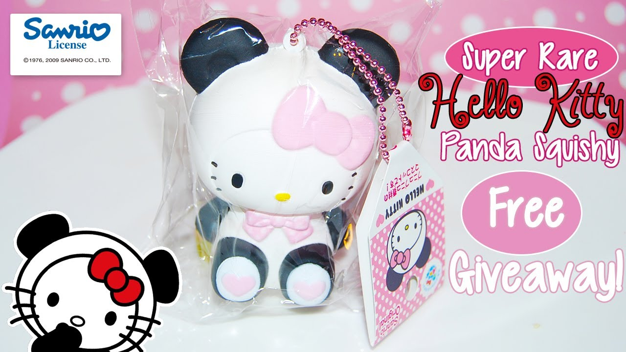 Rare Squishy Giveaway : Free Giveaway ~ *SUPER RARE* Sanrio Licensed Hello Kitty Panda Squishy - YouTube