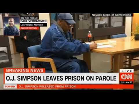 O J  Simpson leaves prison on parole