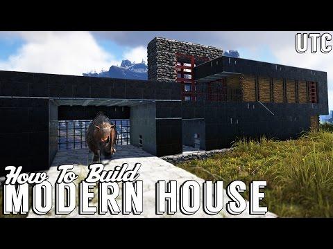 Ark Modern House w/ Dino Garage :: How To Build an Ultra Modern House in Ark :: Metal House Tutorial