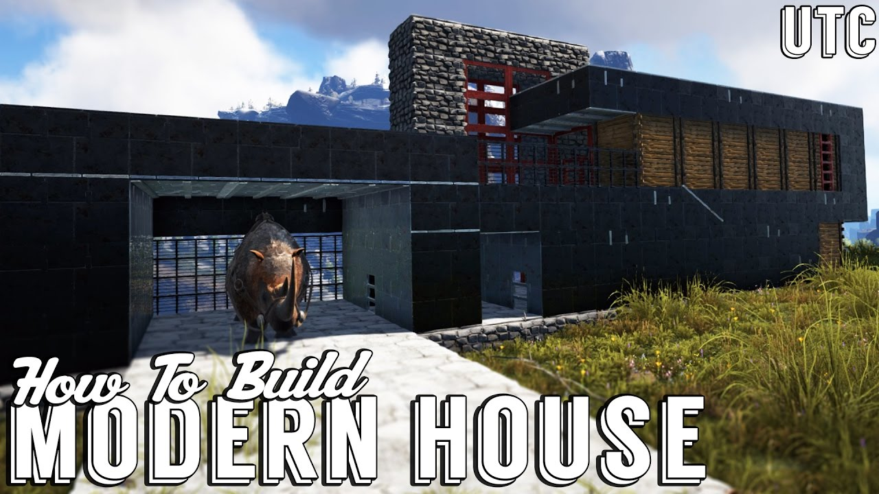 Ark modern house w dino garage how to build an ultra for How to build a metal house
