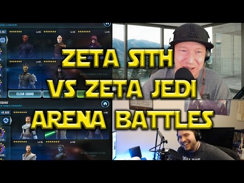 Star Wars: Galaxy Of Heroes - Zeta Sith VS Zeta Jedi Squad Arena