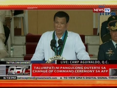QRT: Talumpati ni Pangulong Duterte sa Change of Command Ceremony sa AFP