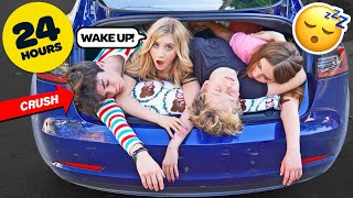 STAYING Overnight In A TESLA CHALLENGE With My CRUSH**FIRST KISS**💋| Elliana Walmsley