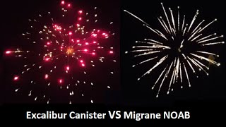 Excalibur Canister Shell Vs Migraine 3 Inch Cake - World Class Fireworks