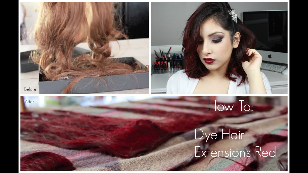 How To Dye Hair Extensions Red Youtube